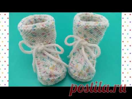 "Пинетки ""Рябушка"" без швов спицами/booties knitting"