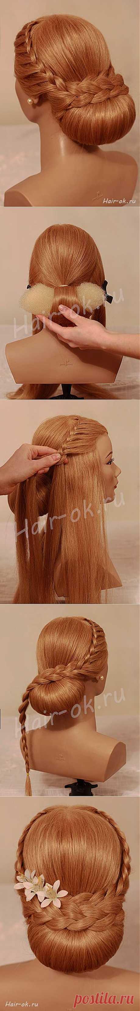 Вечерняя прическа с двумя косами