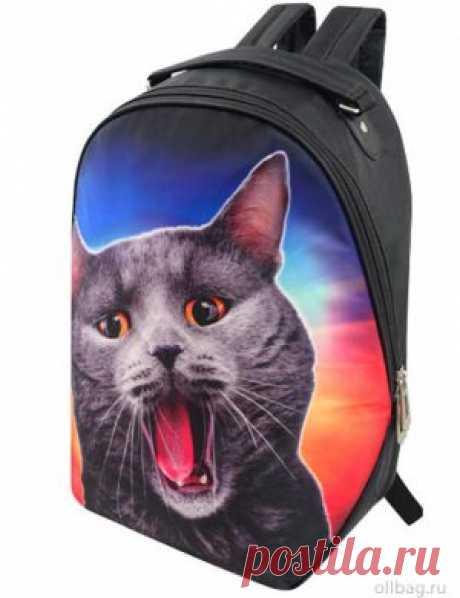 Рюкзак женский 2083-003 принт серый кот в интернет-магазине Ollbag.ru