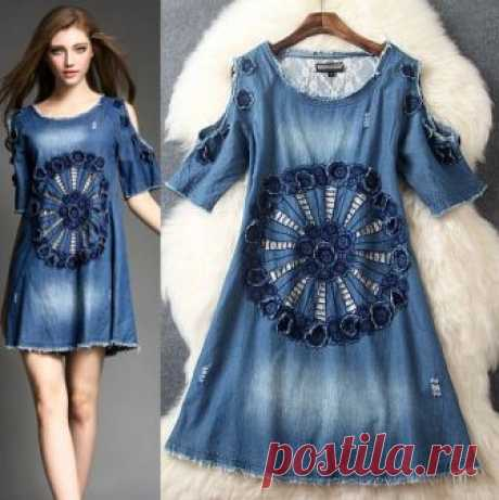 Jeans Round Collar Embroidery Cowboy Dress