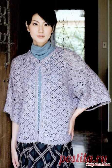 Свободный жакет с широкими рукавами. Крючок. 4372_let`s_knit_series 2016 #knit