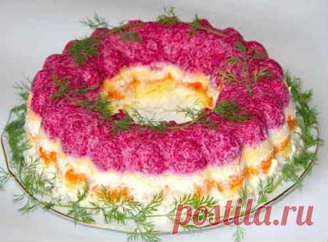 Селедка под шубой по-новому рецепту с желатином