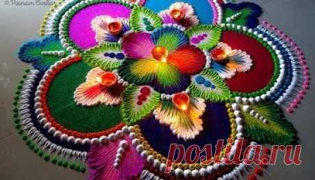 Big, colorful and attractive rangoli for Diwali | Easy and unique rangoli by Poonam Borkar
