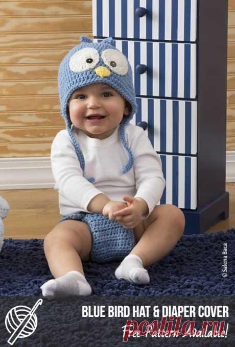 Cute Free Crochet Patterns For Children | Patterns Center Cutie Blue Bird Hat & Diaper Cover Craft: Crochet, Skill level: Easy, Designed by: Salena Baca #crochet #crochethat #freecrochetpattern #crochetowl #crochetforchildren #crochetlove