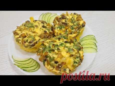 Гнёзда с грибами - Рецепт макарон в духовке с сыром и яйцом.