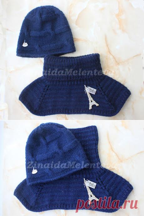 Вяжем вместе: Комплект из манишки и шапки с «полу косами»