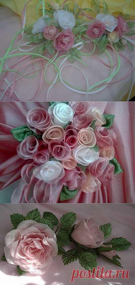 Украшение розами подхватов для штор. Шьем розу для украшения
