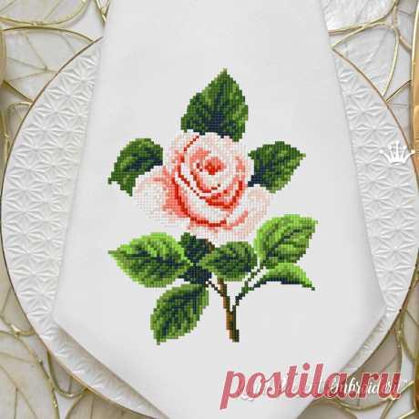 Садовая Роза Дизайн машинной вышивки крестом - 3 размера