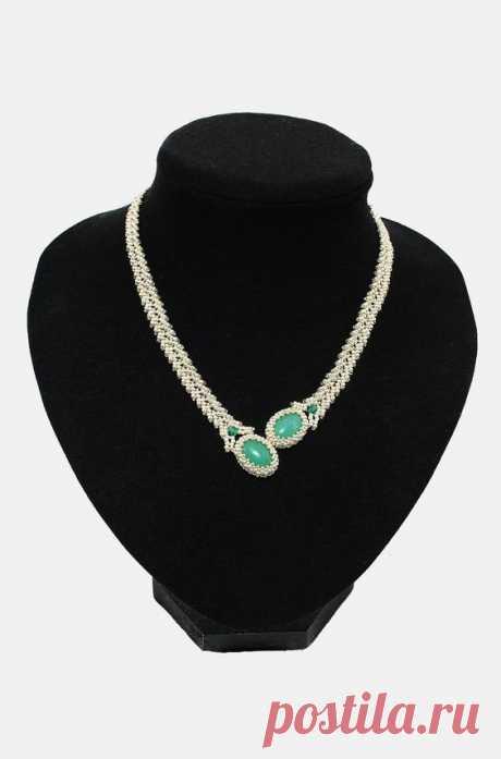 "Колье ""Зелень в серебре""(сначала были серьги) | biser.info - всё о бисере и бисерном творчестве | Бисер - колье пл3 | Beads, Beadwork and Beads tut…"