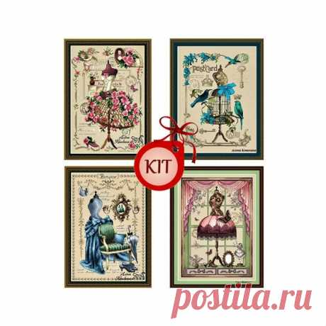 4 Vintage Dress Mannequin  Form Cross Stitch Hand Embroidery Kit, Retro Needlepoint Kit, Modern Cross Stitch Kit, Diy Craft Stitchery Kit 4 exquisite cross stitch kits with vintage mannequins dress form are sold all together or one of your choice.  Stitches: About 116x170 stitches Colors About 32 colors Image size: 21 cm x 30 cm (8,27 x 11,81) Canvas size: 31 cm x 40 cm Canvas color: Linen color Strands 1 thread = 6 threads The kit