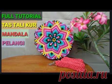 (6) Cara membuat Tas Tali Kur Mandala Pelangi Lengkap | Full Tutorial Of Mandala Rainbow Macrame Bag - YouTube