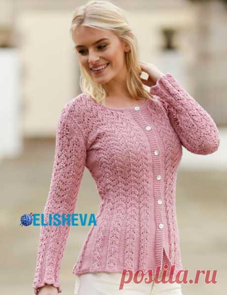 Стильный ажурный жакет для женщин на пуговицах: описание вязания от S до XXXL | Блог elisheva.ru