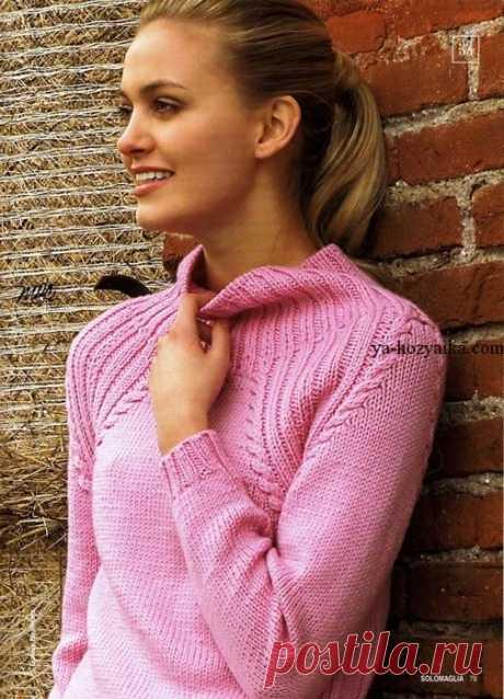 Пуловер спицами для начинающих. Пуловер реглан спицами для женщин Розовый пуловер спицами. Пуловер реглан спицами для женщин