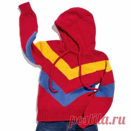 Детский худи с капюшоном - схема вязания спицами с описанием на Verena.ru