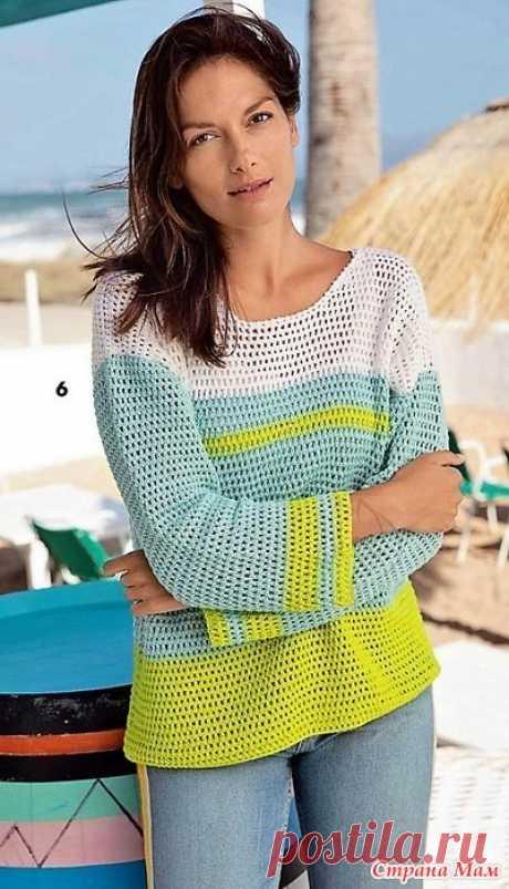 Трехцветный ажурный пуловер. Крючок. Verena. Модное вязание №2 2019