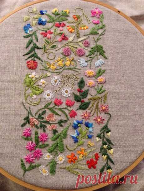 The real treasure for embroideresses!!! 100 samples of a beautiful embroidery + types of stitches (scheme).