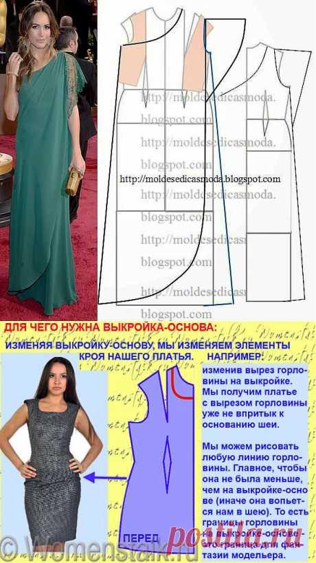 Строим выкройку эффектного асимметричного платья.