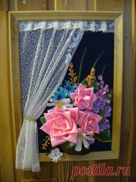 """Подарок на дачу. МК пано """"Окно с розами""""."""