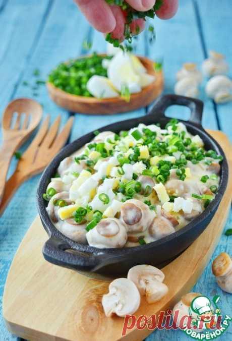 Грибы в сливках с рубленым яйцом – кулинарный рецепт