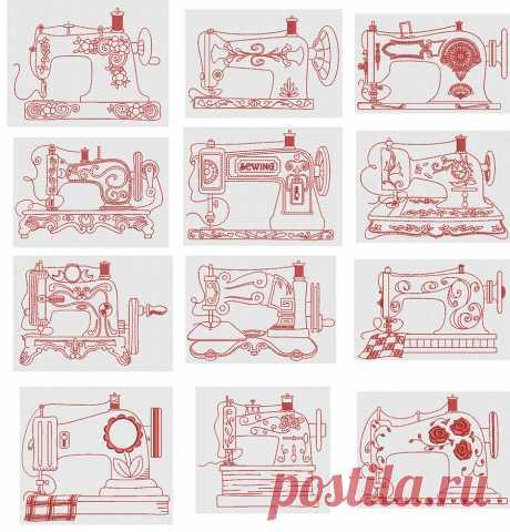 Vintage Sewing Machines Redwork