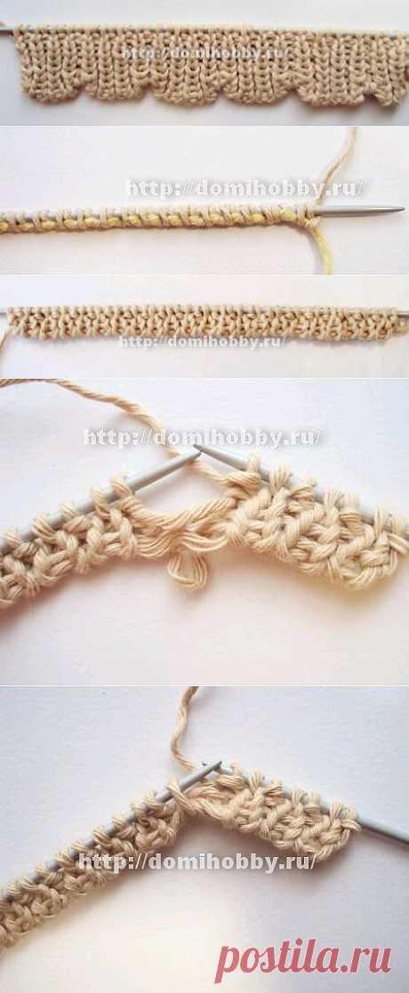 Вязание волнистого края спицами .