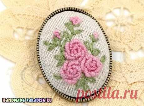 Вышивка розочек в технике рококо - Handmade-Paradise