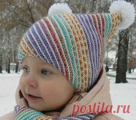 Детская шапочка и шарфик «По диагонали»