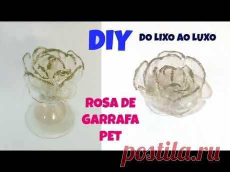 Centro de mesa com rosa de garrafa pet do lixo ao luxo -  ROSES made of recycled plastic bottle - YouTube