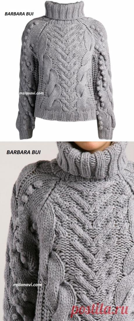 Чудесный свитер от BARBARA BUI   Вяжем с Лана Ви