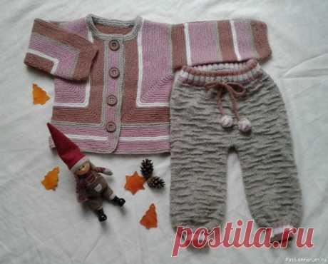 Кофточка для девочки 3-6 мес. и костюмчик на 1 год | Вязание спицами для детей