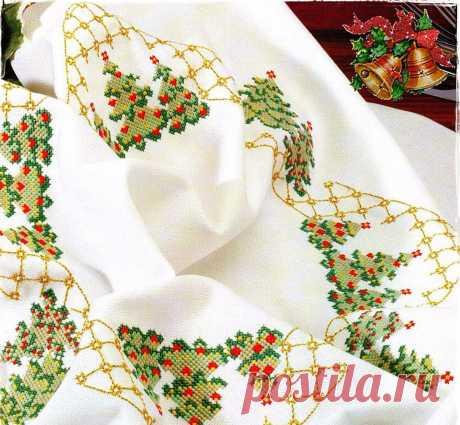 Новогодняя скатерть схема вышивки. Новогодние салфетки вышивка крестом Новогодняя скатерть схема вышивки. Новогодние салфетки вышивка крестом