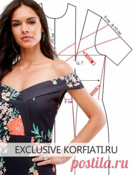 Принцип моделирования платья со спущенными плечами, которое мы рассмотрим в этом уроке, используется дизайнерами при конструировании моделей для торжественных случаев. Приспущенная линия плеч создает изящный силуэт, который подчеркивает линию плеч, создавая роскошный образ. Выкройка платья со спущенными плечами.