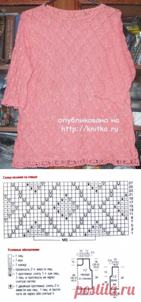La blusa chiné veraniega. El trabajo de Elena, la Labor de punto para las mujeres