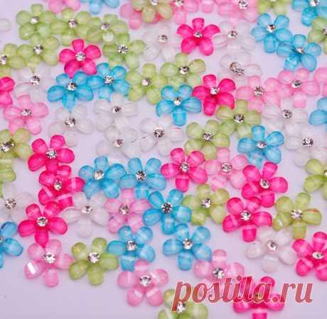 Цветочки 10 мм 20 шт, 6 цветов + микс