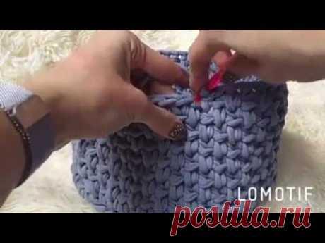 Узор крючком для корзинки из ленточной пряжи.