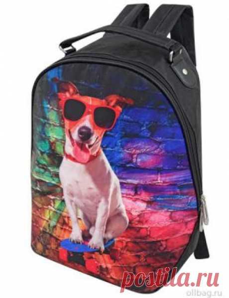 Рюкзак женский 2083-002 принт собачка в очках в интернет-магазине Ollbag.ru