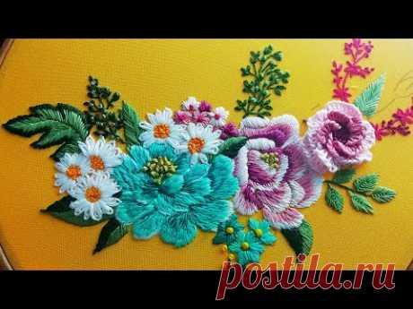 Голубая роза с ромашками   Вышивка гладью