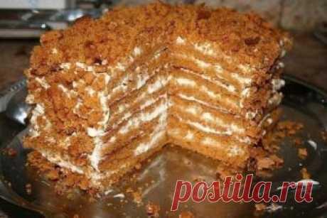 Простой и вкусный медовый тортик, для тех, кто не любит возиться с раскаткой коржей