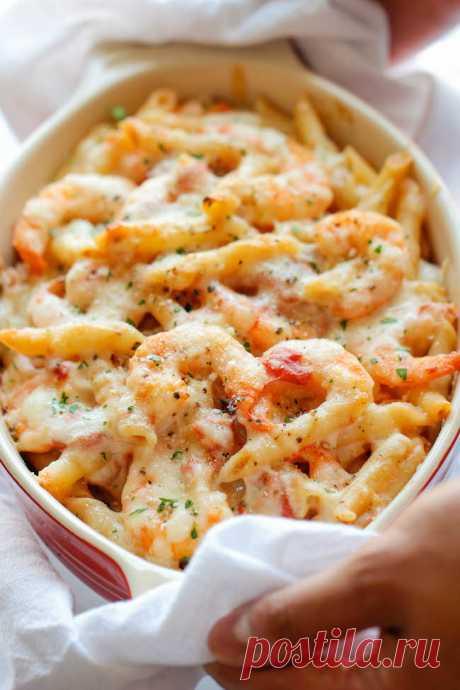 Skinny Shrimp Alfredo Pasta Bake - Damn Delicious
