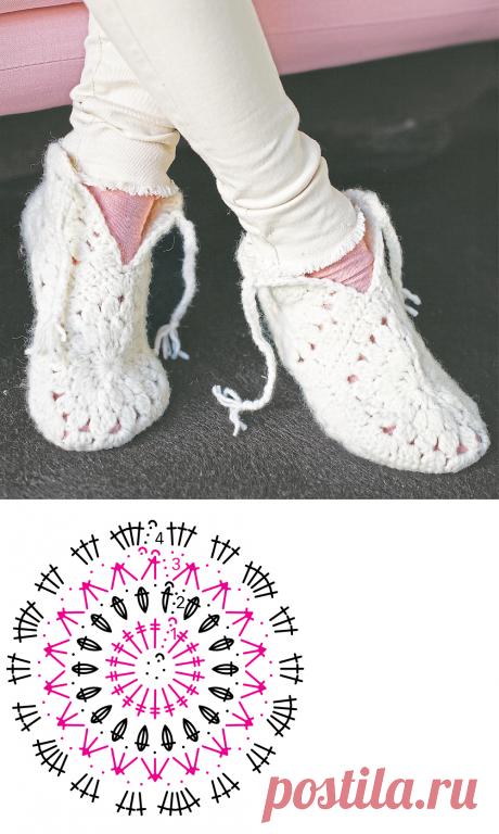 Ажурные тапочки из мотивов - схема вязания крючком. Вяжем Тапочки на Verena.ru