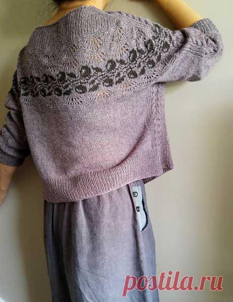 Пуловер оверсайз с жаккардовой полосой Plum