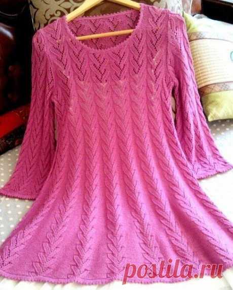 Платье-туника, вяжем спицами
