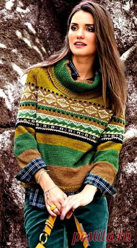 Жаккардовый пуловер с воротником гольф