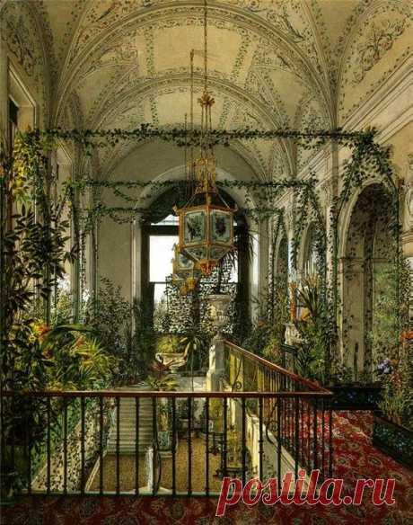 """Konstantin Andreyevich Ukhtomsky, """"The Small Winter Garden of Empress Alexandra Fyodorovna,"""" 1870s.   Pinterest • el catálogo Mundial de las ideas"""