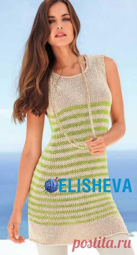 Простое вязание: летняя туника без рукавов спицами