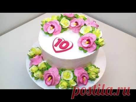 Торт с орхидеями и розами на 10000(крем БЗК). /Cake with orchids and roses for 10К(protein custard).