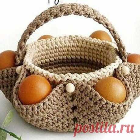 Корзинка-подставка для яиц и кулича. Крючком. Схема. / knittingideas.ru