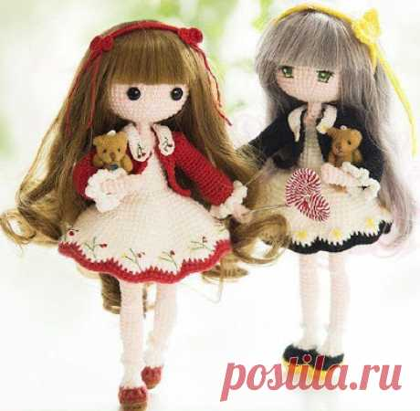 1000 schemes of an amiguruma in Russian: Knitted doll Mora
