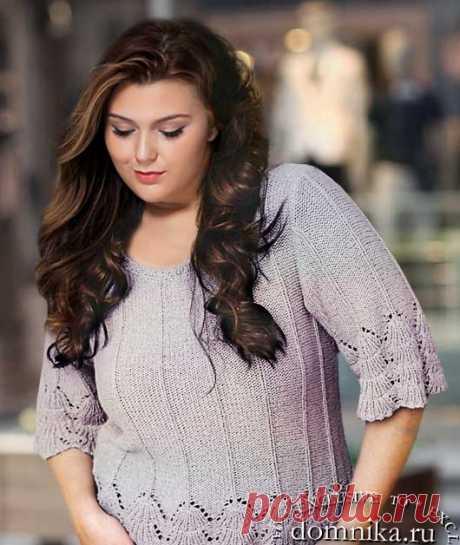 Модные пуловера для полных женщин - джемперы большого размера