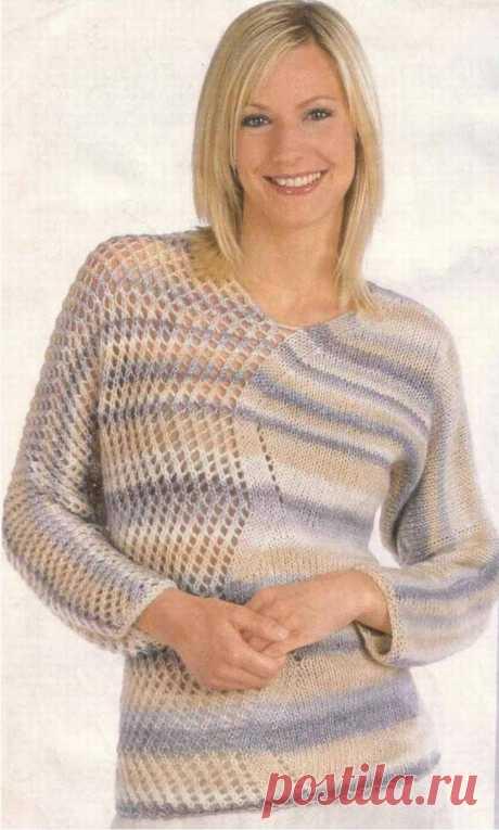 "Ажурный пуловер с рукавами ""летучая мышь"". Спицами. / loveknitt.blogspot.com"
